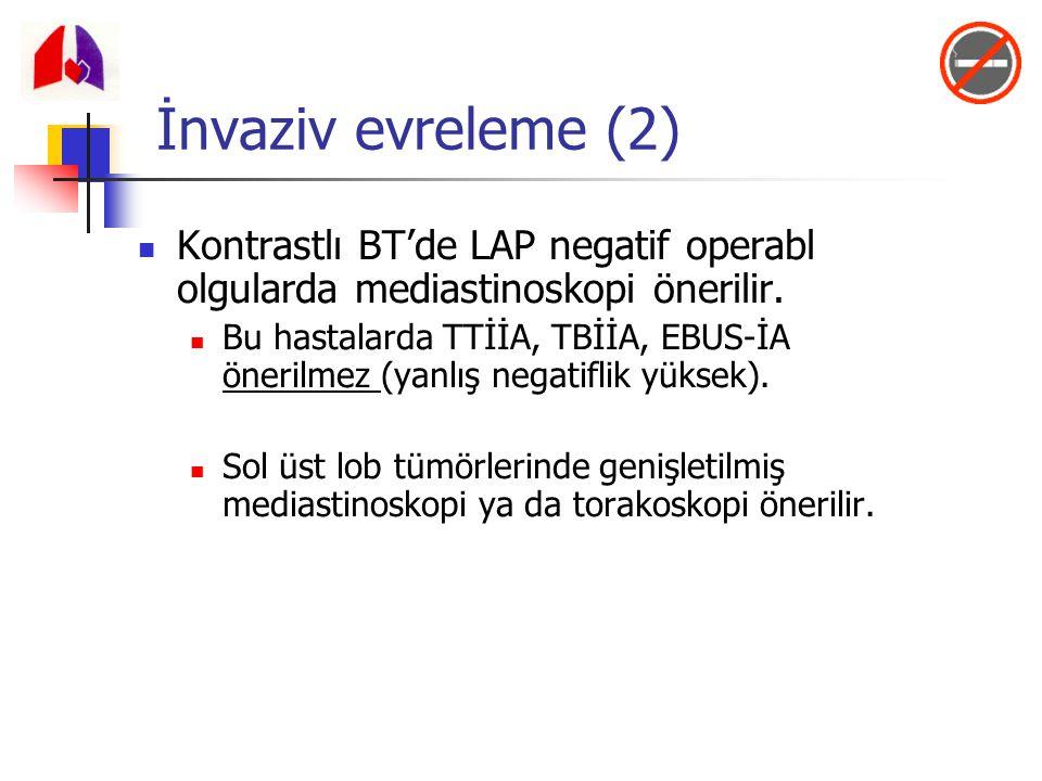İnvaziv evreleme (2) Kontrastlı BT'de LAP negatif operabl olgularda mediastinoskopi önerilir.