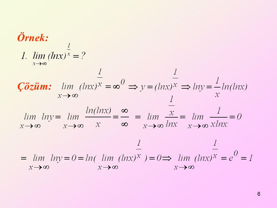 Örnek: Çözüm: