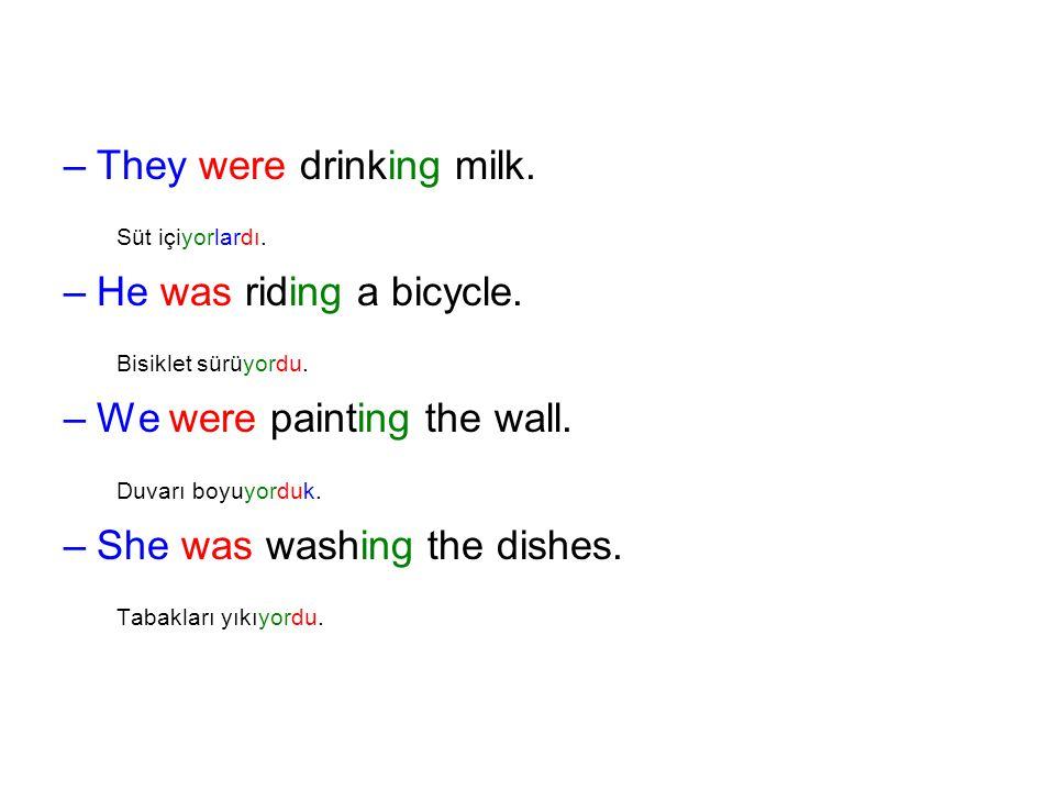 Süt içiyorlardı. Bisiklet sürüyordu. Duvarı boyuyorduk.
