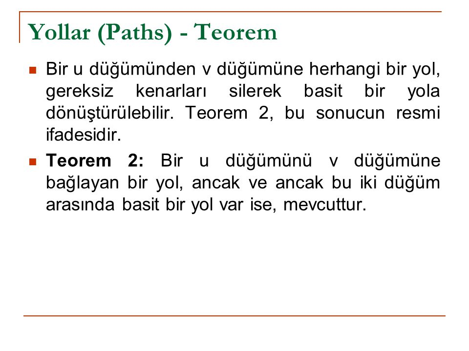 Yollar (Paths) - Teorem