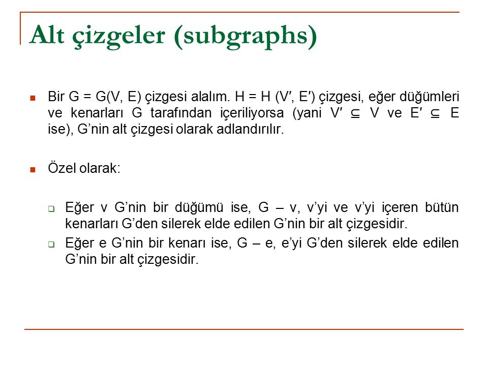 Alt çizgeler (subgraphs)