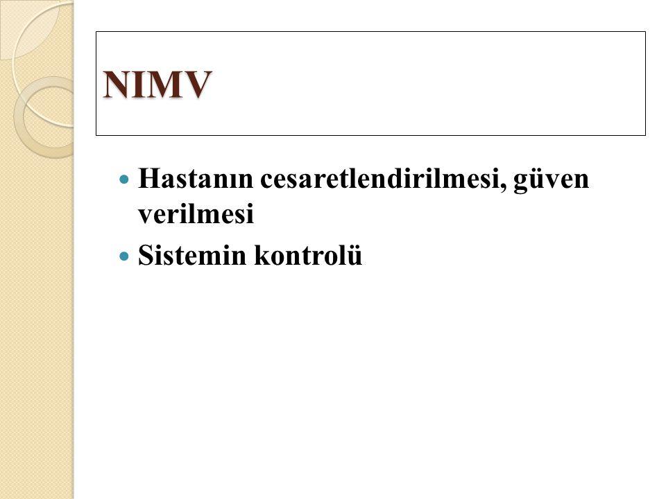 NIMV Hastanın cesaretlendirilmesi, güven verilmesi Sistemin kontrolü