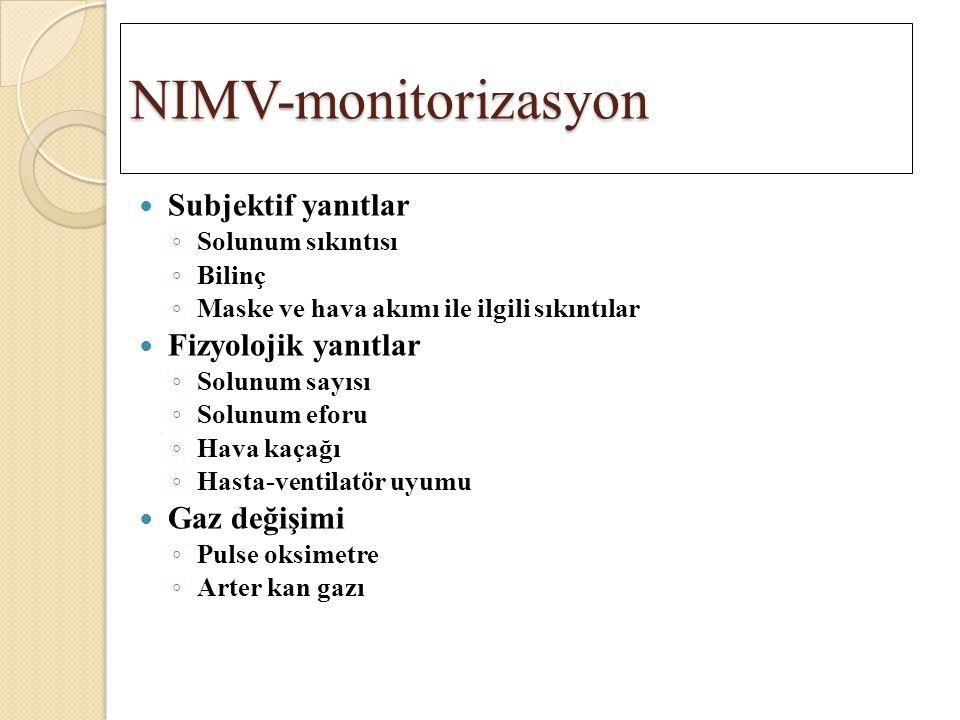 NIMV-monitorizasyon Subjektif yanıtlar Fizyolojik yanıtlar