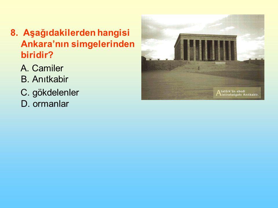 8. Aşağıdakilerden hangisi Ankara'nın simgelerinden biridir