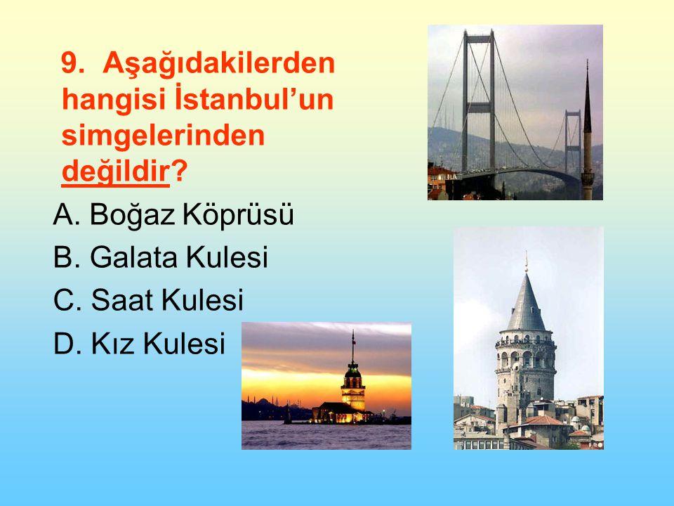 9. Aşağıdakilerden hangisi İstanbul'un simgelerinden değildir