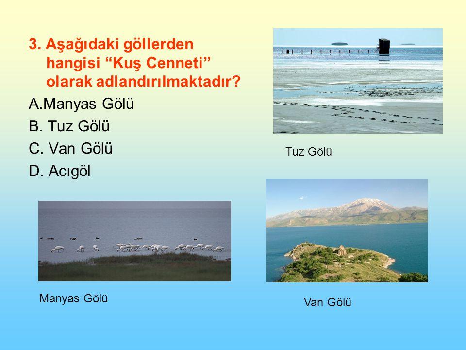 3. Aşağıdaki göllerden hangisi Kuş Cenneti olarak adlandırılmaktadır