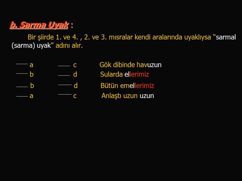 b. Sarma Uyak : Bir şiirde 1. ve 4. , 2. ve 3. mısralar kendi aralarında uyaklıysa sarmal (sarma) uyak adını alır.