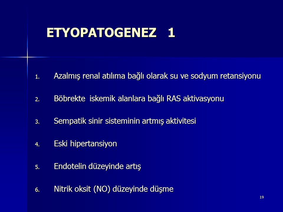 ETYOPATOGENEZ 1 Azalmış renal atılıma bağlı olarak su ve sodyum retansiyonu. Böbrekte iskemik alanlara bağlı RAS aktivasyonu.