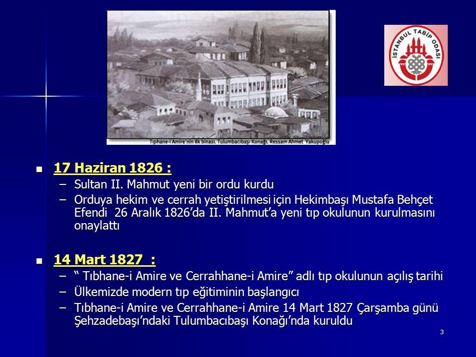 17 Haziran 1826 : 14 Mart 1827 : Sultan II. Mahmut yeni bir ordu kurdu
