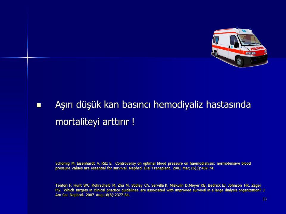 Aşırı düşük kan basıncı hemodiyaliz hastasında mortaliteyi arttırır !