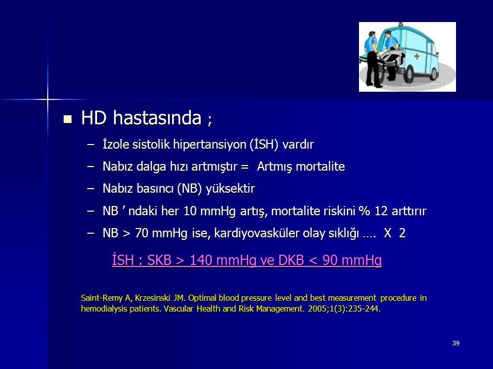 HD hastasında ; İSH : SKB > 140 mmHg ve DKB < 90 mmHg