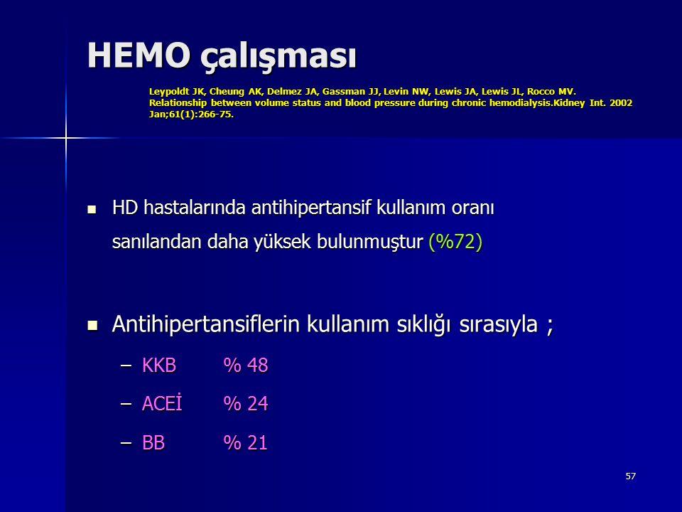 HEMO çalışması Leypoldt JK, Cheung AK, Delmez JA, Gassman JJ, Levin NW, Lewis JA, Lewis JL, Rocco MV. Relationship between volume status and blood pressure during chronic hemodialysis.Kidney Int. 2002 Jan;61(1):266-75.