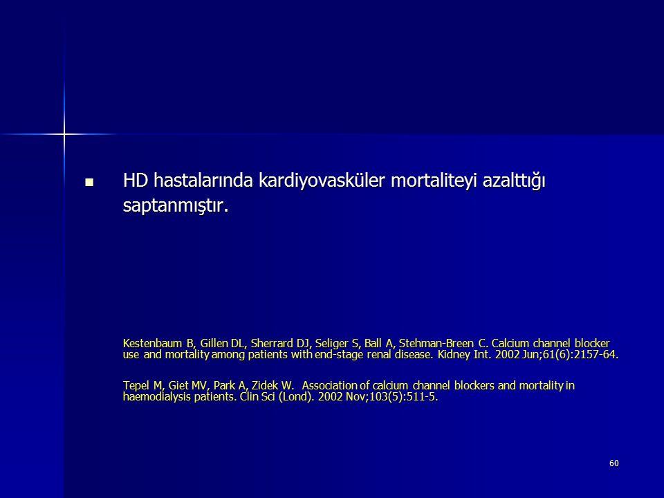 HD hastalarında kardiyovasküler mortaliteyi azalttığı saptanmıştır.