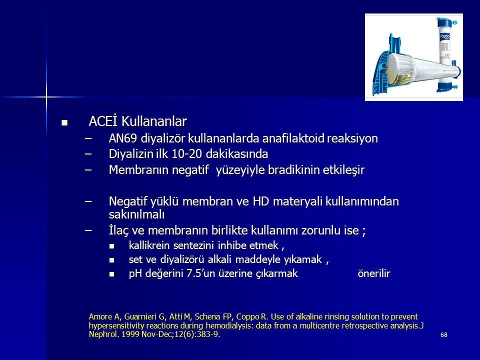 ACEİ Kullananlar AN69 diyalizör kullananlarda anafilaktoid reaksiyon