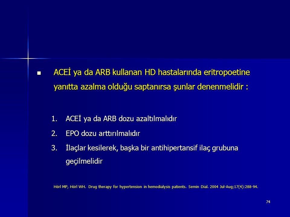 ACEİ ya da ARB kullanan HD hastalarında eritropoetine yanıtta azalma olduğu saptanırsa şunlar denenmelidir :