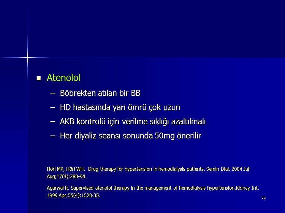 Atenolol Böbrekten atılan bir BB HD hastasında yarı ömrü çok uzun