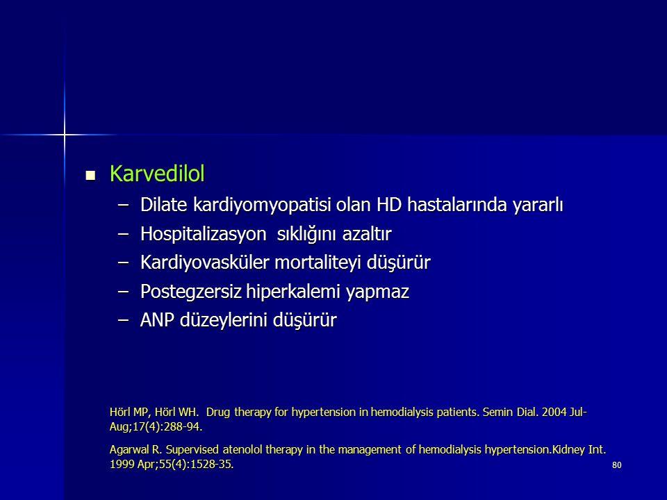 Karvedilol Dilate kardiyomyopatisi olan HD hastalarında yararlı