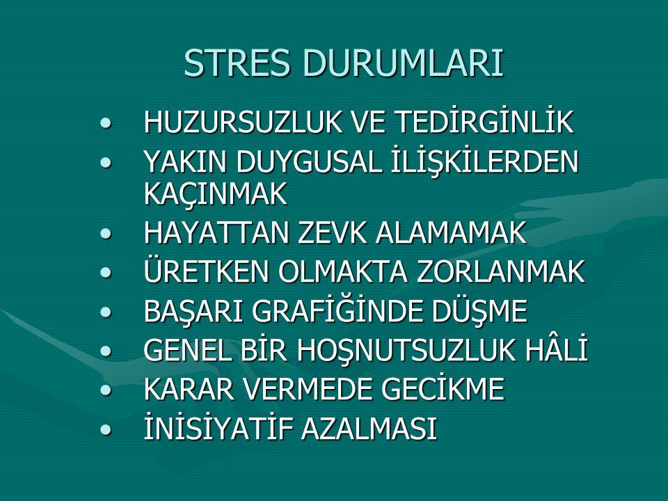 STRES DURUMLARI HUZURSUZLUK VE TEDİRGİNLİK
