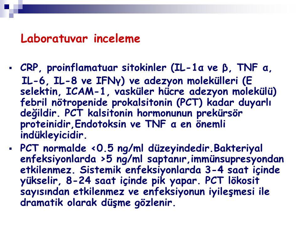 Laboratuvar inceleme CRP, proinflamatuar sitokinler (IL-1α ve β, TNF α,