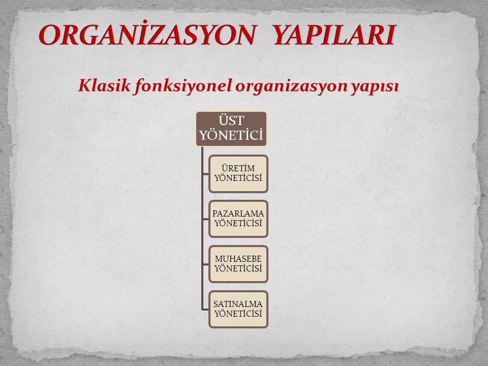 Klasik fonksiyonel organizasyon yapısı