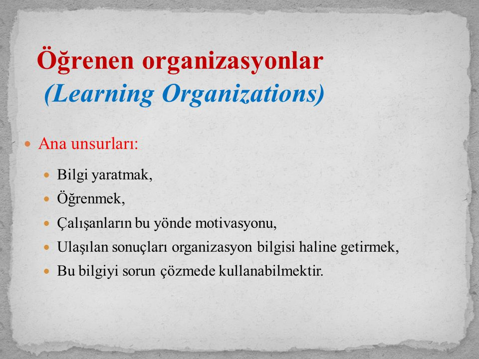 (Learning Organizations)
