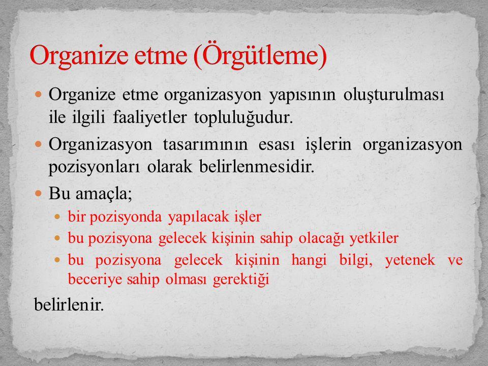Organize etme (Örgütleme)