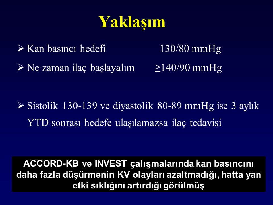 Yaklaşım Kan basıncı hedefi 130/80 mmHg