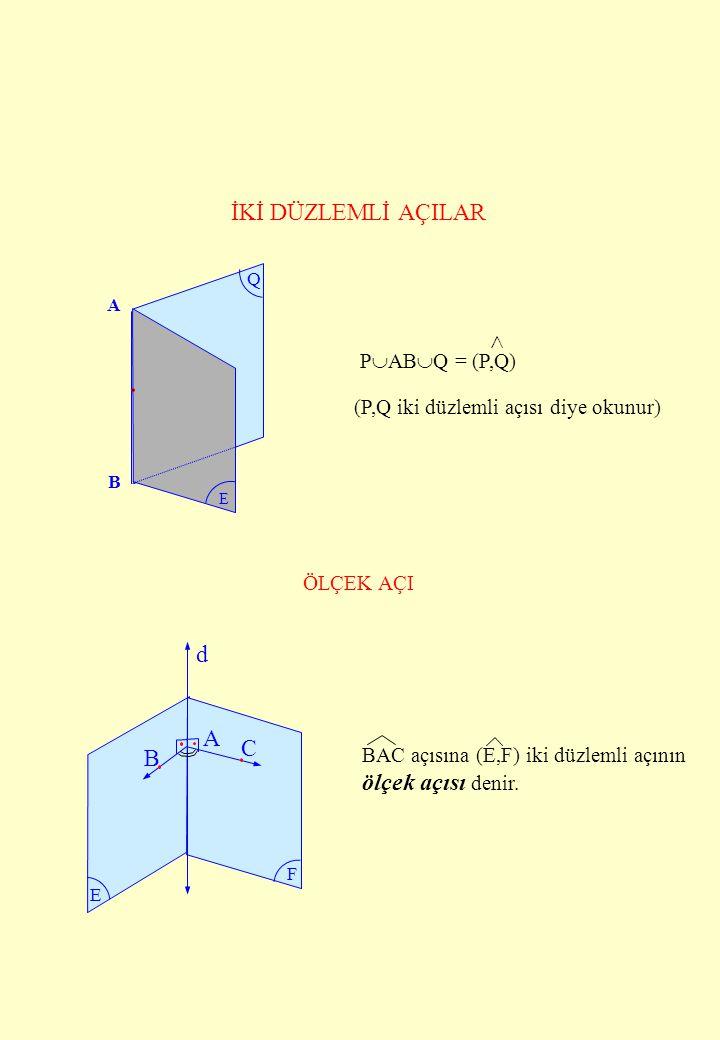 İKİ DÜZLEMLİ AÇILAR  d A C B ölçek açısı denir. PABQ = (P,Q)