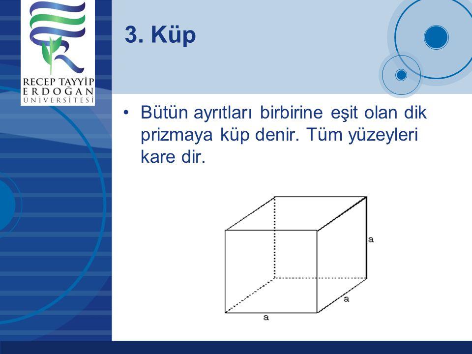 3. Küp Bütün ayrıtları birbirine eşit olan dik prizmaya küp denir. Tüm yüzeyleri kare dir.