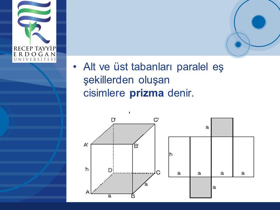 Alt ve üst tabanları paralel eş şekillerden oluşan cisimlere prizma denir.