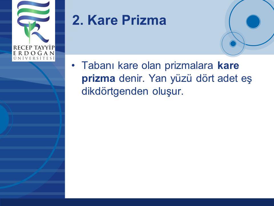 2. Kare Prizma Tabanı kare olan prizmalara kare prizma denir.