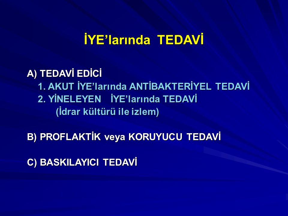 İYE'larında TEDAVİ A) TEDAVİ EDİCİ