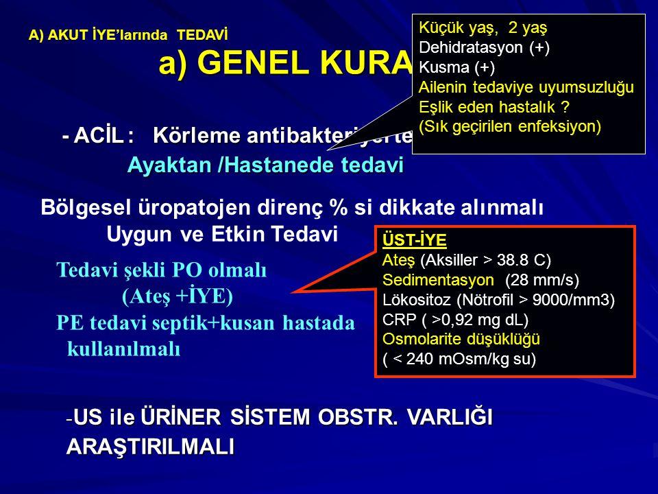 a) GENEL KURALLAR - ACİL : Körleme antibakteriyel ted. başlanılmalı
