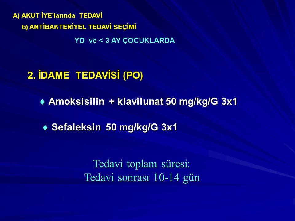 Tedavi toplam süresi: Tedavi sonrası 10-14 gün 2. İDAME TEDAVİSİ (PO)