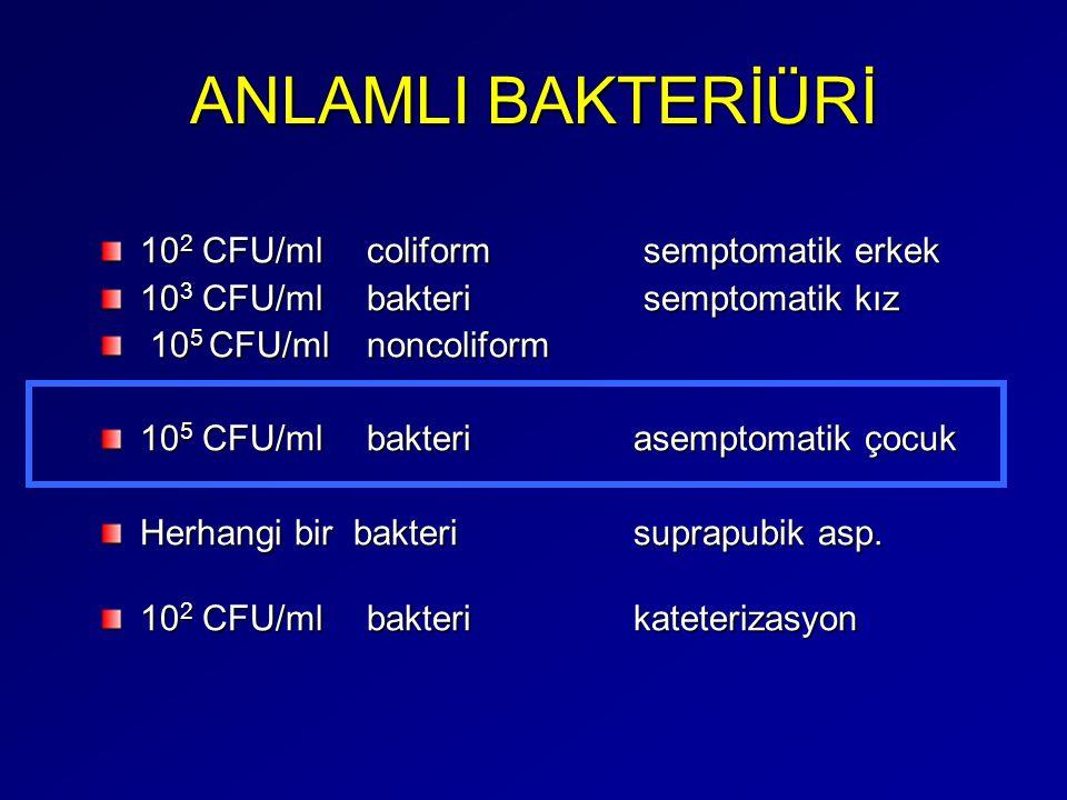 ANLAMLI BAKTERİÜRİ 102 CFU/ml coliform semptomatik erkek