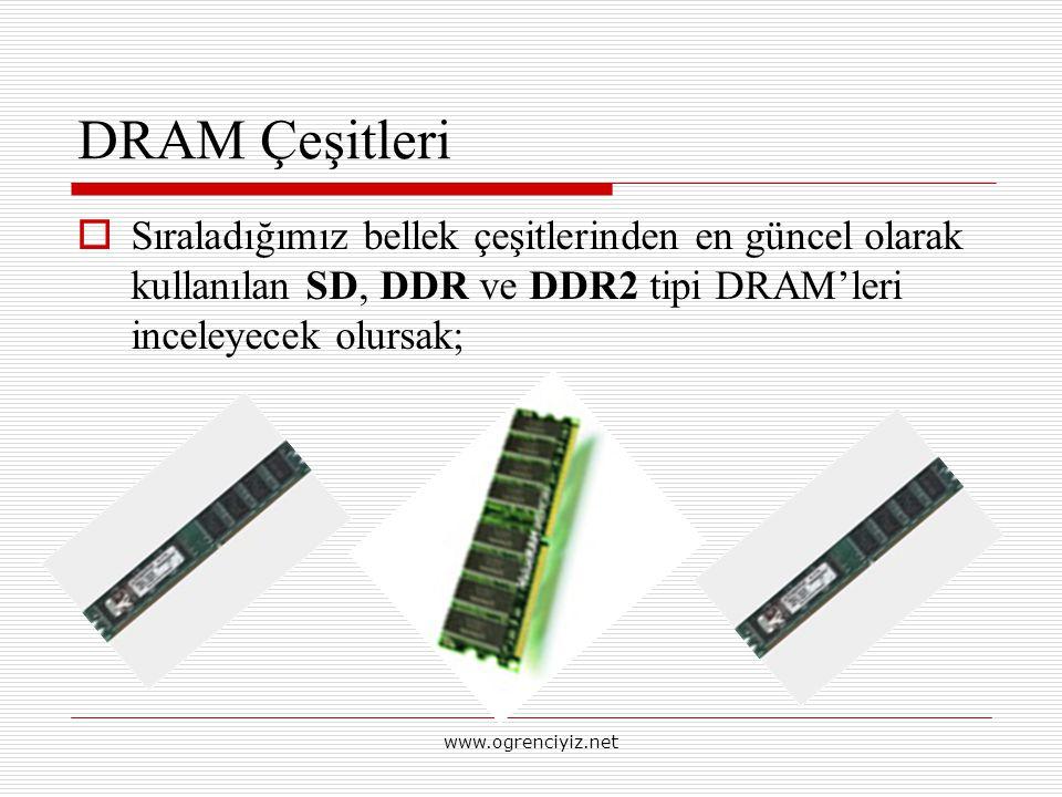 DRAM Çeşitleri Sıraladığımız bellek çeşitlerinden en güncel olarak kullanılan SD, DDR ve DDR2 tipi DRAM'leri inceleyecek olursak;