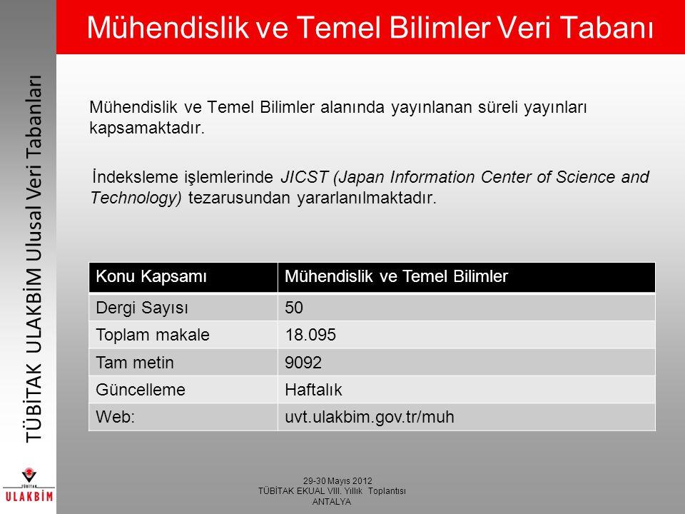 Mühendislik ve Temel Bilimler Veri Tabanı