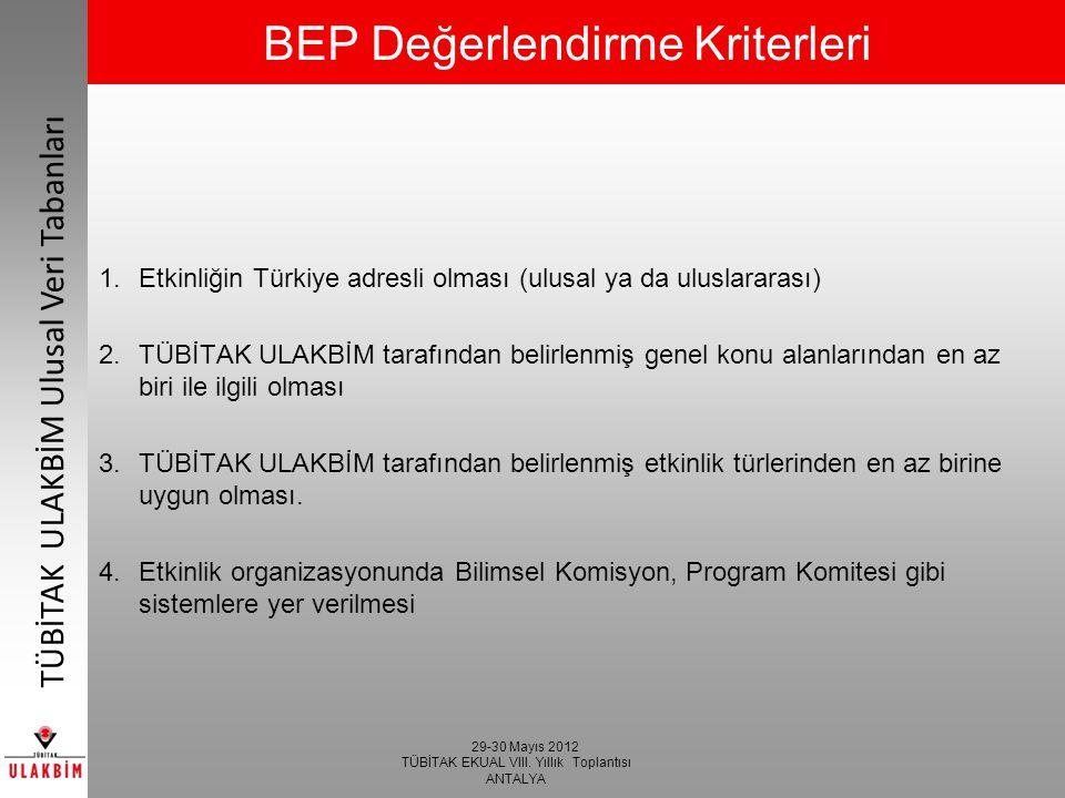 BEP Değerlendirme Kriterleri