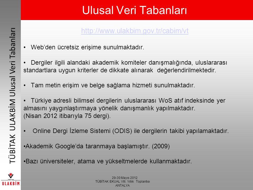 Ulusal Veri Tabanları http://www.ulakbim.gov.tr/cabim/vt