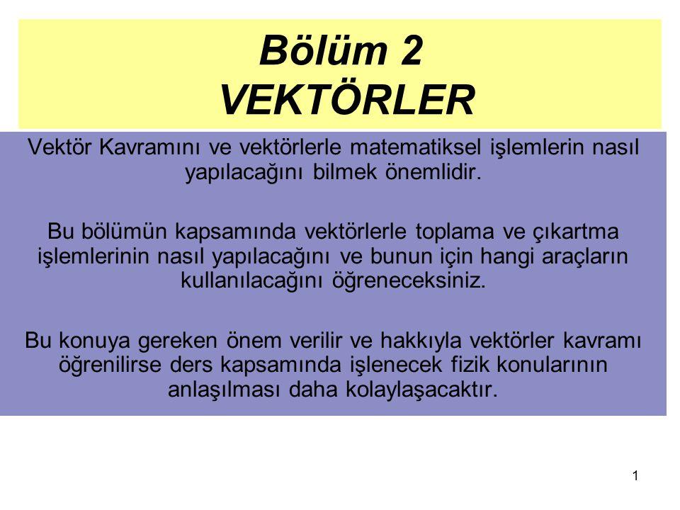 Bölüm 2 VEKTÖRLER Vektör Kavramını ve vektörlerle matematiksel işlemlerin nasıl yapılacağını bilmek önemlidir.