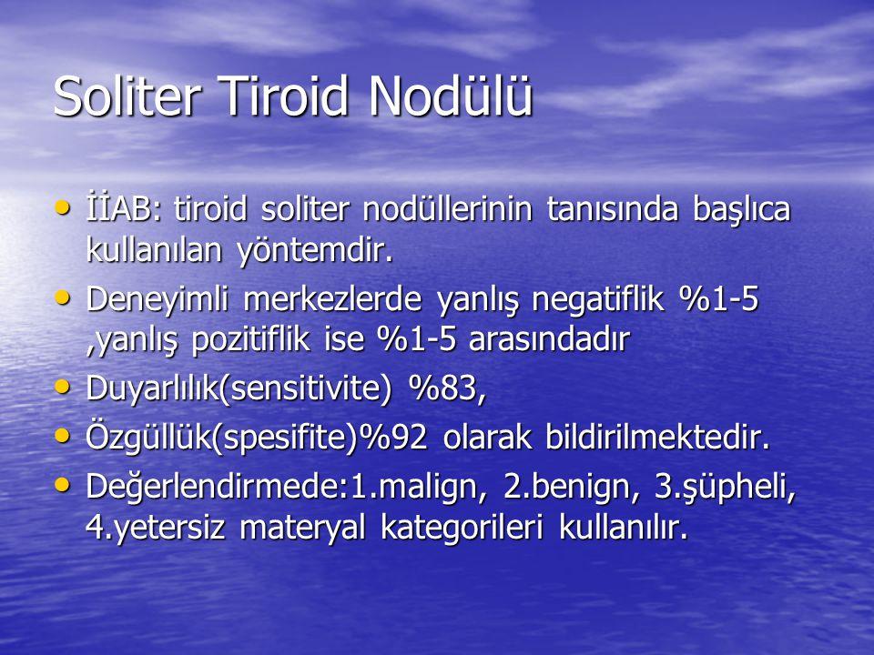 Soliter Tiroid Nodülü İİAB: tiroid soliter nodüllerinin tanısında başlıca kullanılan yöntemdir.