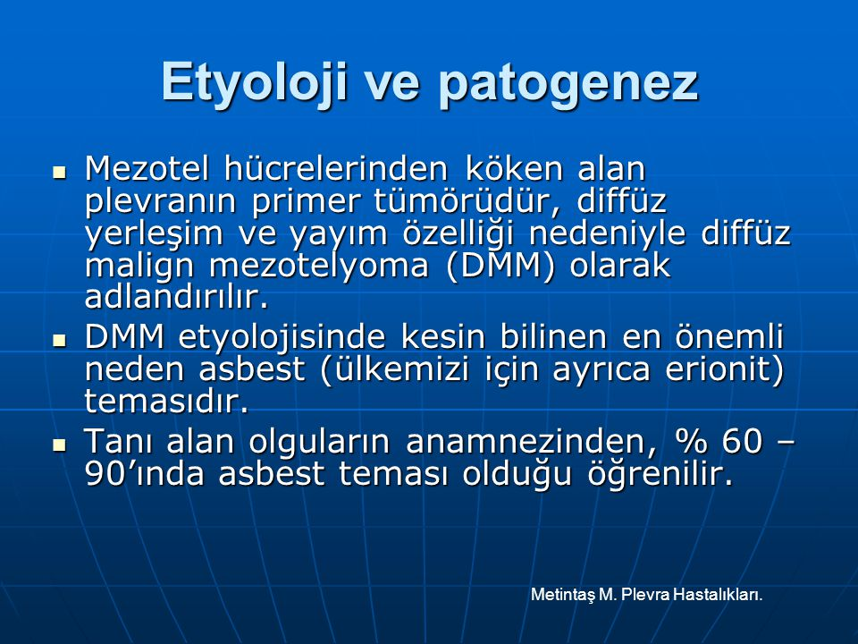 Etyoloji ve patogenez