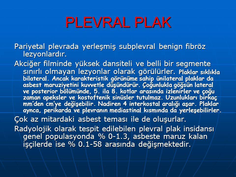 PLEVRAL PLAK Pariyetal plevrada yerleşmiş subplevral benign fibröz lezyonlardır.