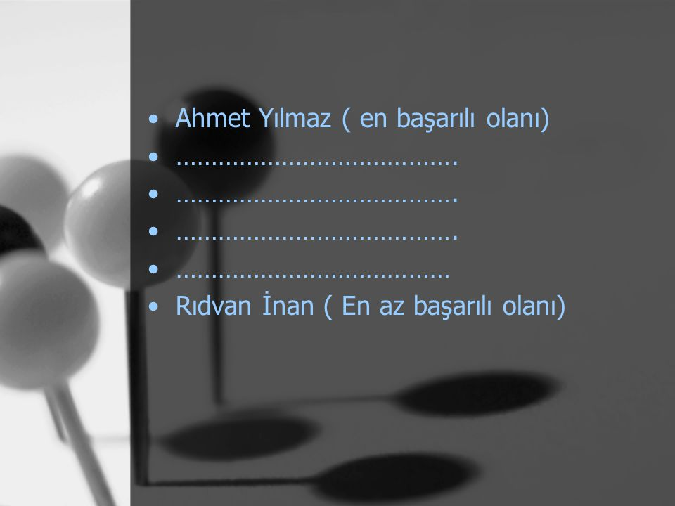 Ahmet Yılmaz ( en başarılı olanı)