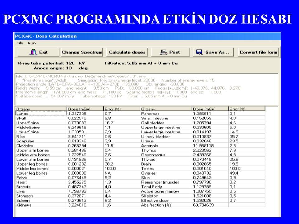 PCXMC PROGRAMINDA ETKİN DOZ HESABI