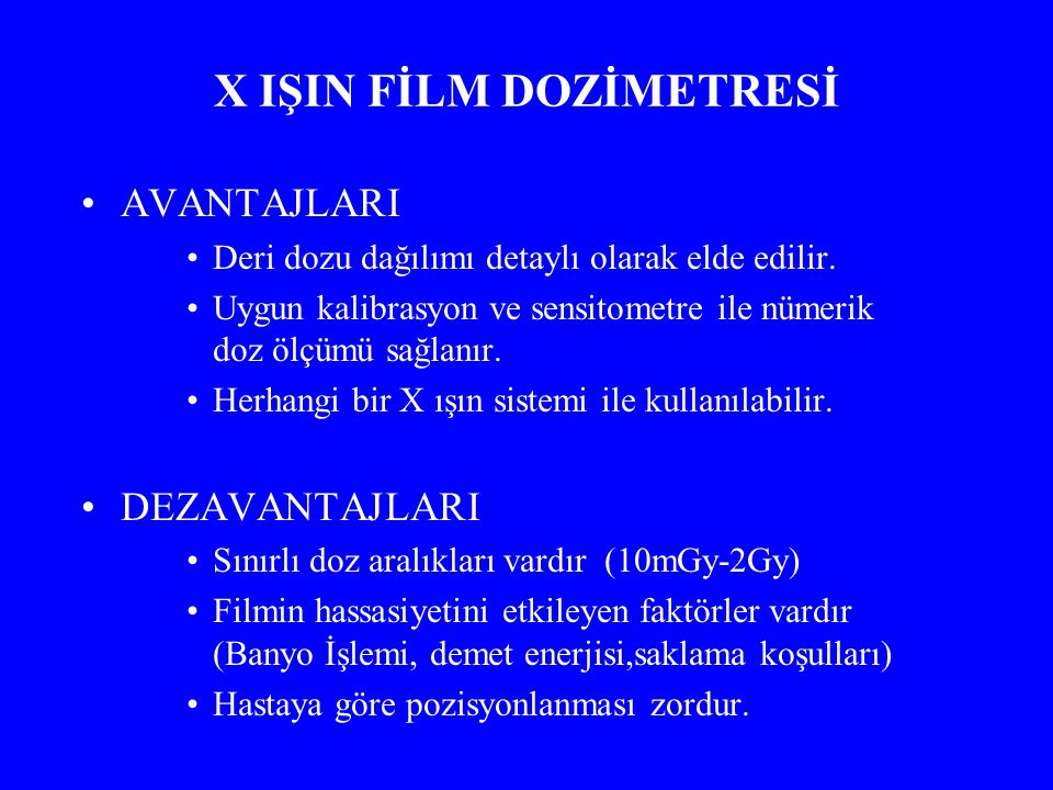 X IŞIN FİLM DOZİMETRESİ