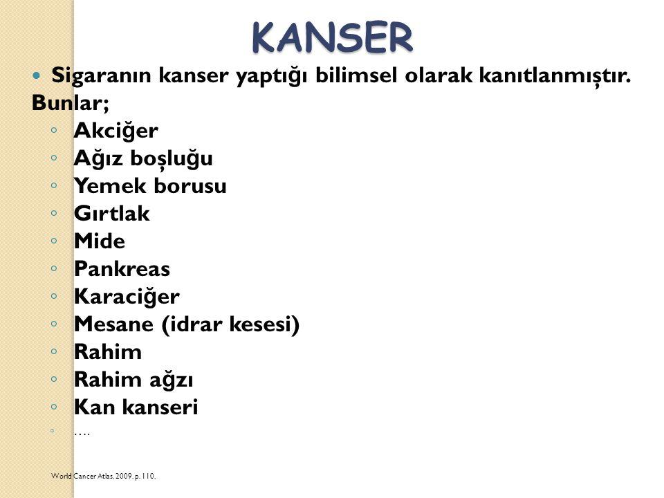 KANSER Sigaranın kanser yaptığı bilimsel olarak kanıtlanmıştır.