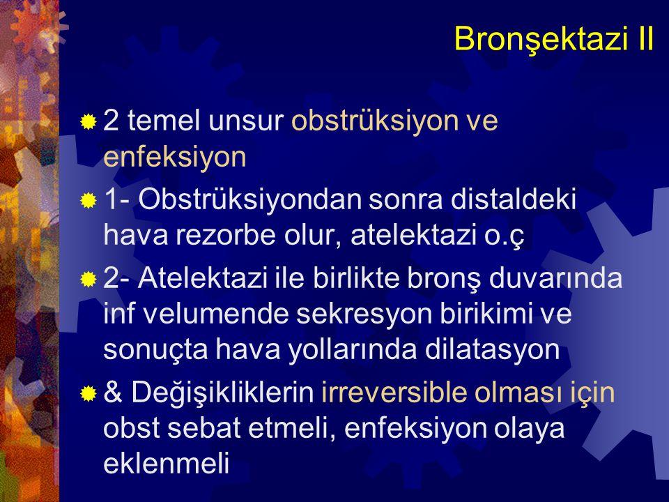 Bronşektazi II 2 temel unsur obstrüksiyon ve enfeksiyon