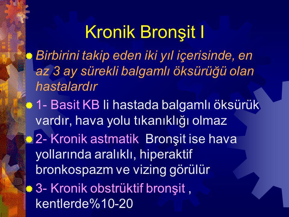 Kronik Bronşit I Birbirini takip eden iki yıl içerisinde, en az 3 ay sürekli balgamlı öksürüğü olan hastalardır.