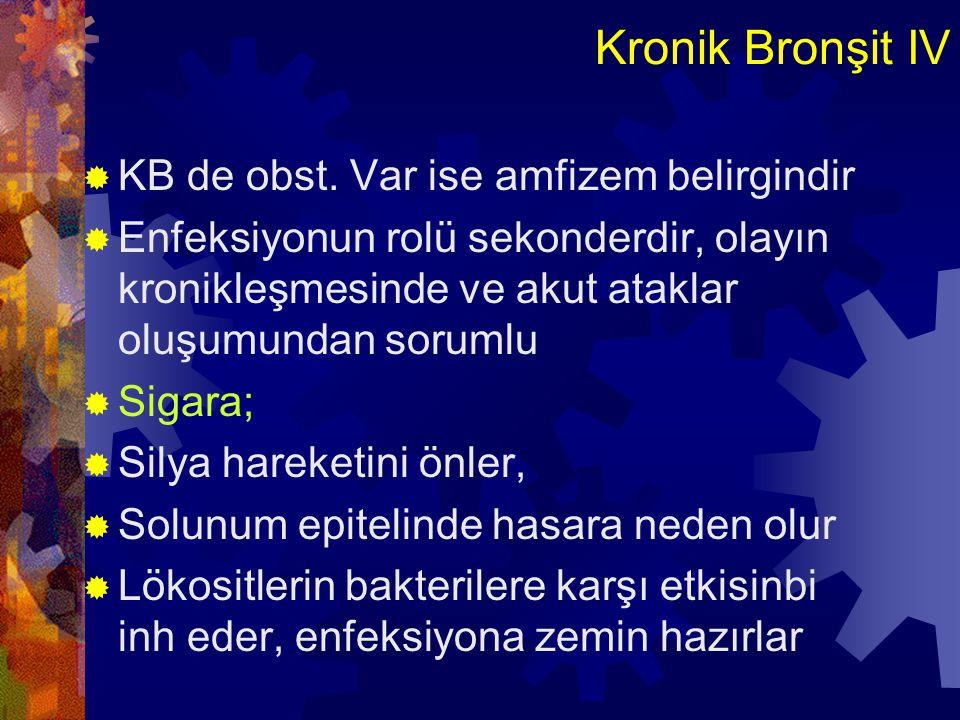 Kronik Bronşit IV KB de obst. Var ise amfizem belirgindir